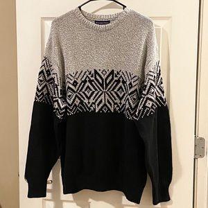 Roundtree & Yorke Gray Black Crew Neck Sweater